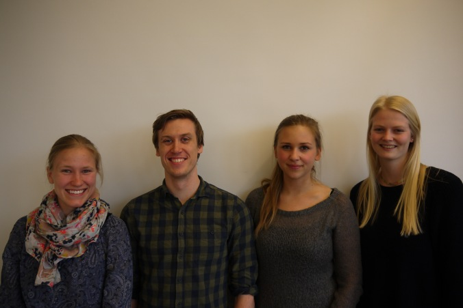 Fra venstre: Ida Nordengen Berntzen (styremedlem), Lauvstad Sættem (leder), Johanne Pedersen Tvedt (styremedlem), Trine Ellingsen (økonomiansvarlig)